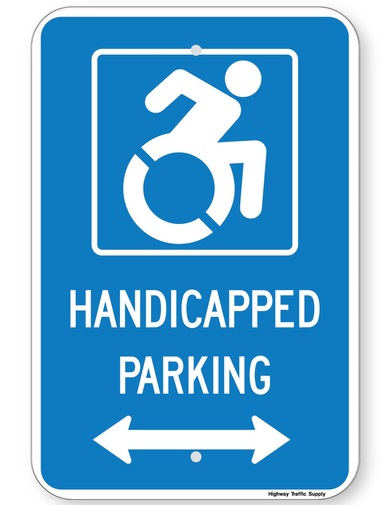 Handicapped Parking Sign (with double arrow) (New York State Accessible Icon)