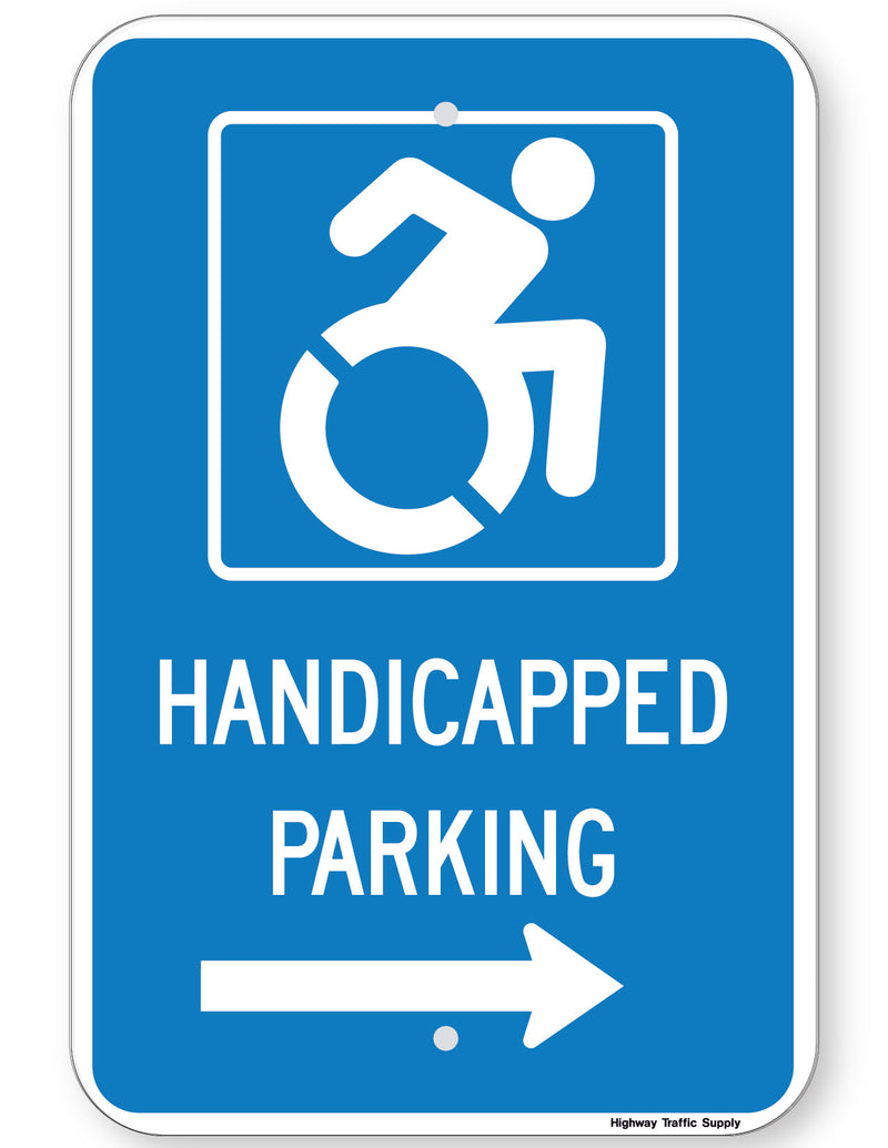 Handicapped Parking Sign (with right arrow) (New York State Accessible Icon)