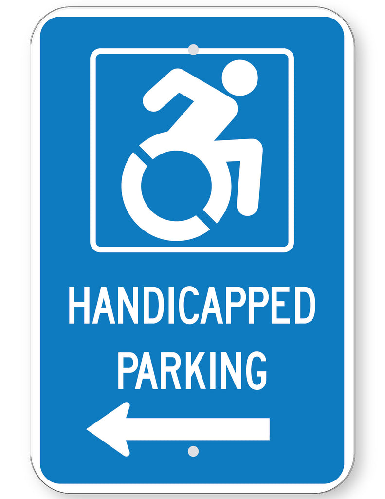 Handicapped Parking Sign (with left arrow) (New York State Accessible Icon)
