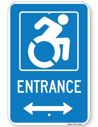 Handicapped Entrance Sign (with double arrow) (New York State Accessible Icon)