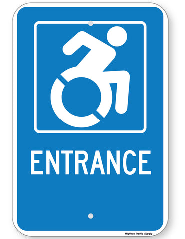 Handicapped Entrance Sign (New York State Accessible Icon)