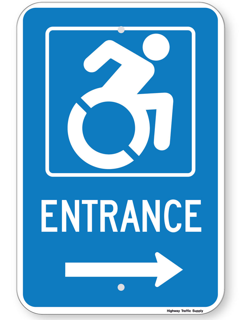 Handicapped Entrance Sign (with right arrow) (New York State Accessible Icon)