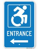 Handicapped Entrance Sign (with left arrow) (New York State Accessible Icon)