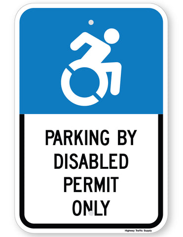 Handicapped Parking By Disabled Permit Only Sign (New York State Accessible Icon)