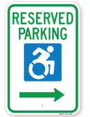 Reserved Parking Handicap Symbol Sign (with right arrow) (New York State Accessible Icon)