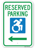 Reserved Parking Handicap Symbol Sign (with left arrow) (New York State Accessible Icon)