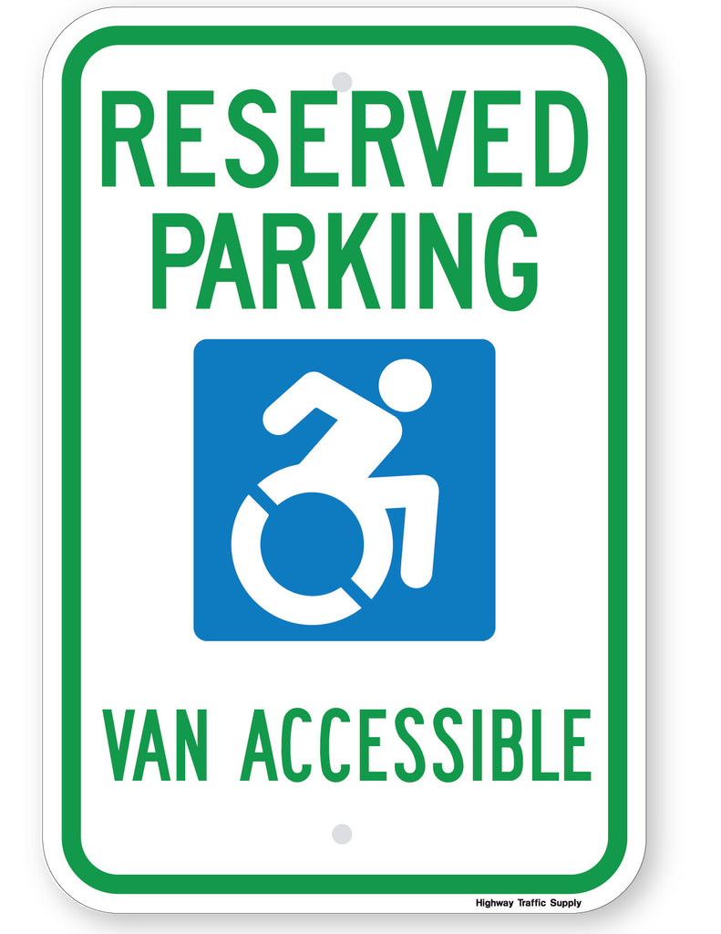 Reserved Parking Handicap Symbol Van Accessible Sign (Style B) (New York State Accessible Icon)