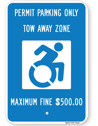 Handicapped Permit Parking Only Tow Away Zone Maximum Fine $500.00 Sign (New York State Accessible Icon)