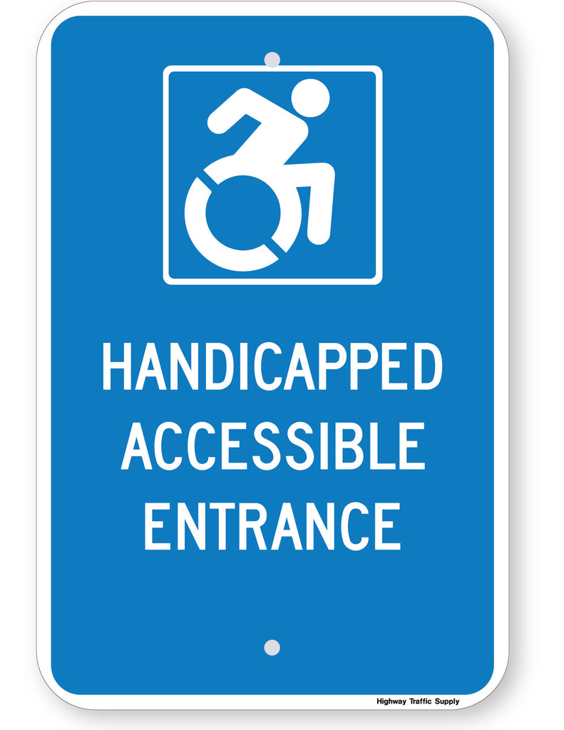 Handicapped Accessible Entrance Sign (New York State Accessible Icon)