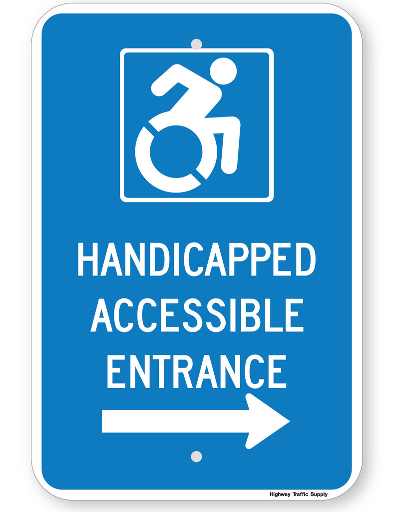 Handicapped Accessible Entrance Sign (with right arrow) (New York State Accessible Icon)
