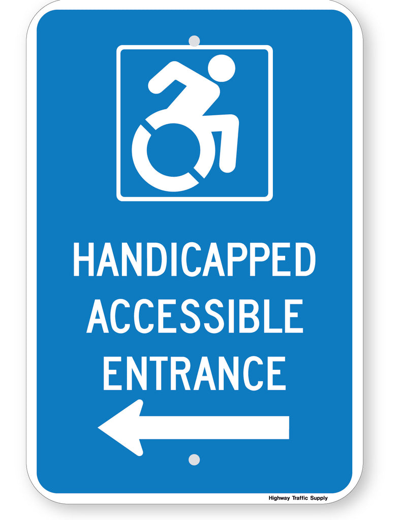 Handicapped Accessible Entrance Sign (with left arrow) (New York State Accessible Icon)
