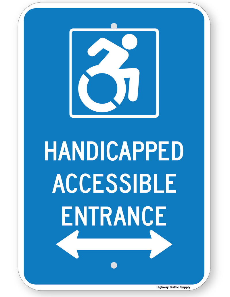 Handicapped Accessible Entrance Sign (with double arrow) (New York State Accessible Icon)