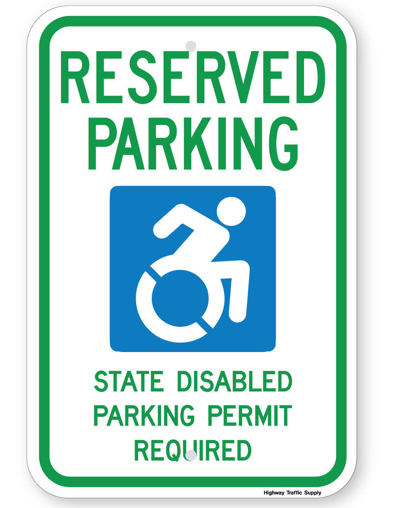 Reserved Parking Handicap Symbol State Disabled Parking Permit Required Sign (New York State Accessible Icon)