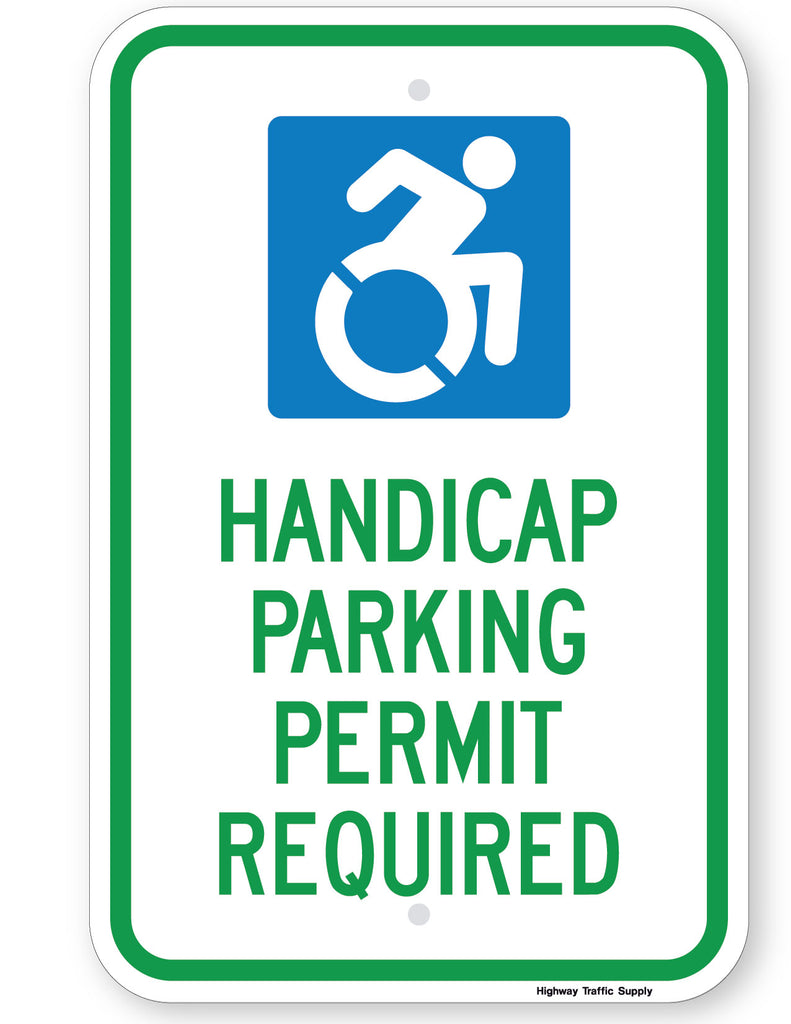 Handicap Parking Permit Required Sign (New York State Accessible Icon)