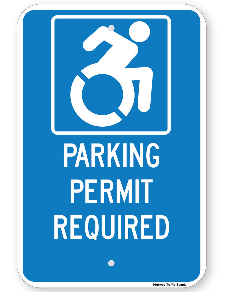 Handicapped Parking Permit Required Sign (New York State Accessible Icon)