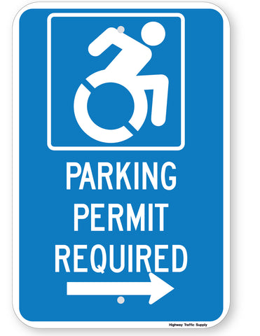 Handicapped Parking Permit Required Sign (with right arrow) (New York State Accessible Icon)