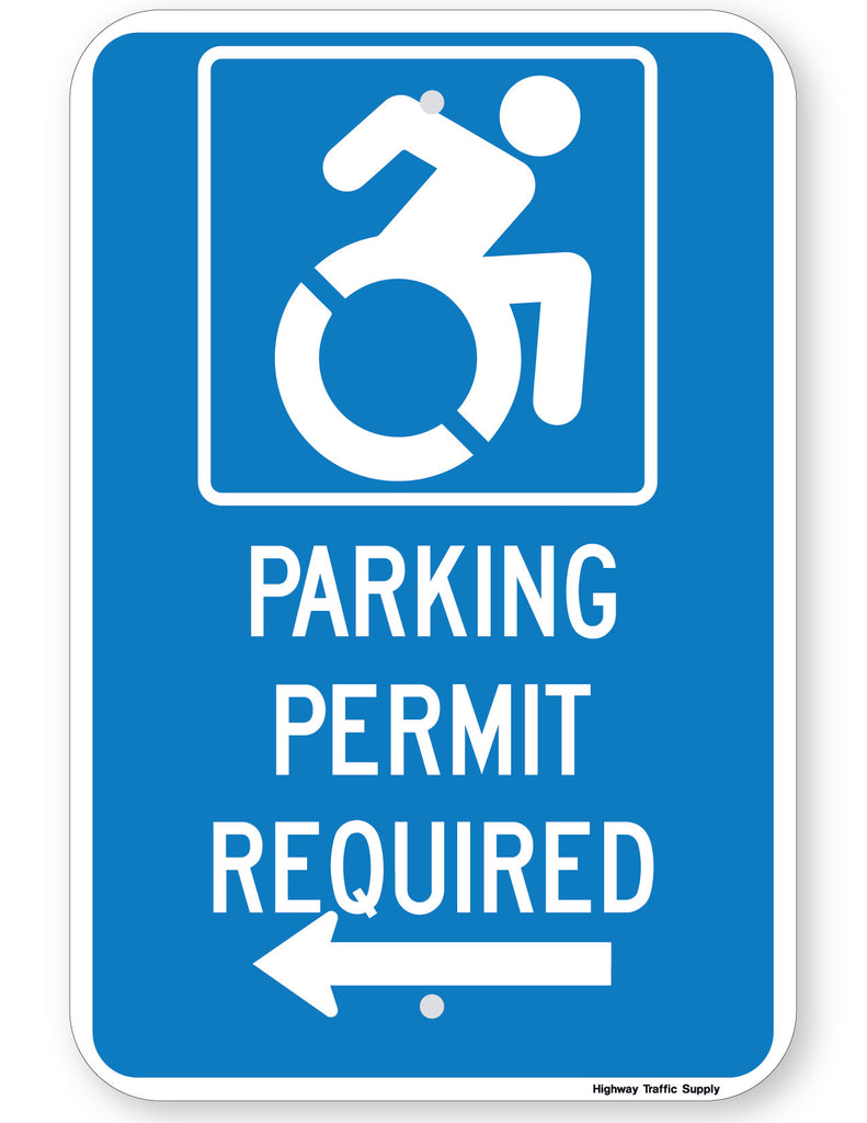 Handicapped Parking Permit Required Sign (with left arrow) (New York State Accessible Icon)
