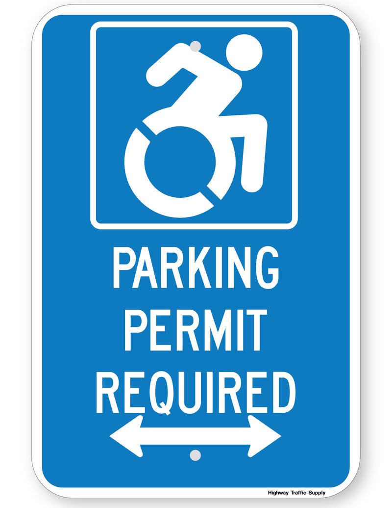 Handicapped Parking Permit Required Sign (with double arrow) (New York State Accessible Icon)