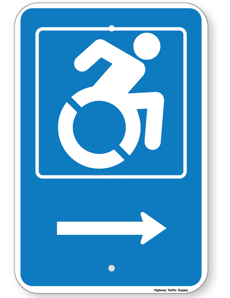 Handicapped Symbol Sign (with right arrow) (New York State Accessible Icon)
