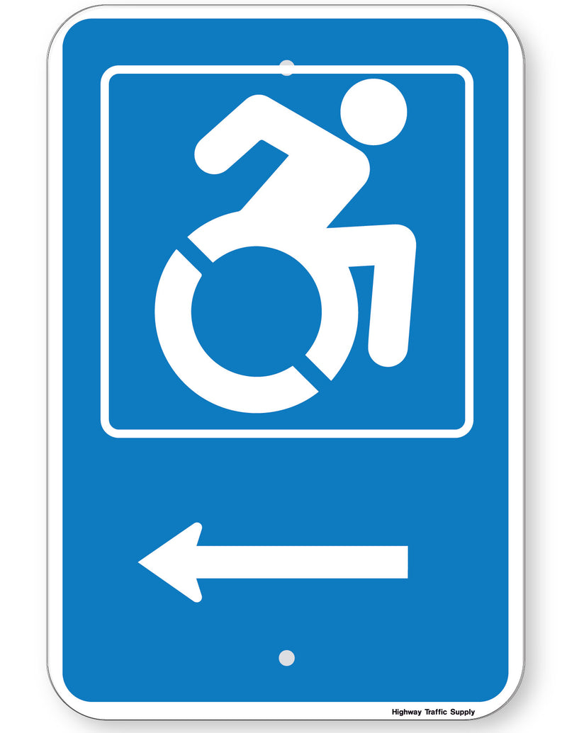 Handicapped Symbol Sign (with left arrow) (New York State Accessible Icon)