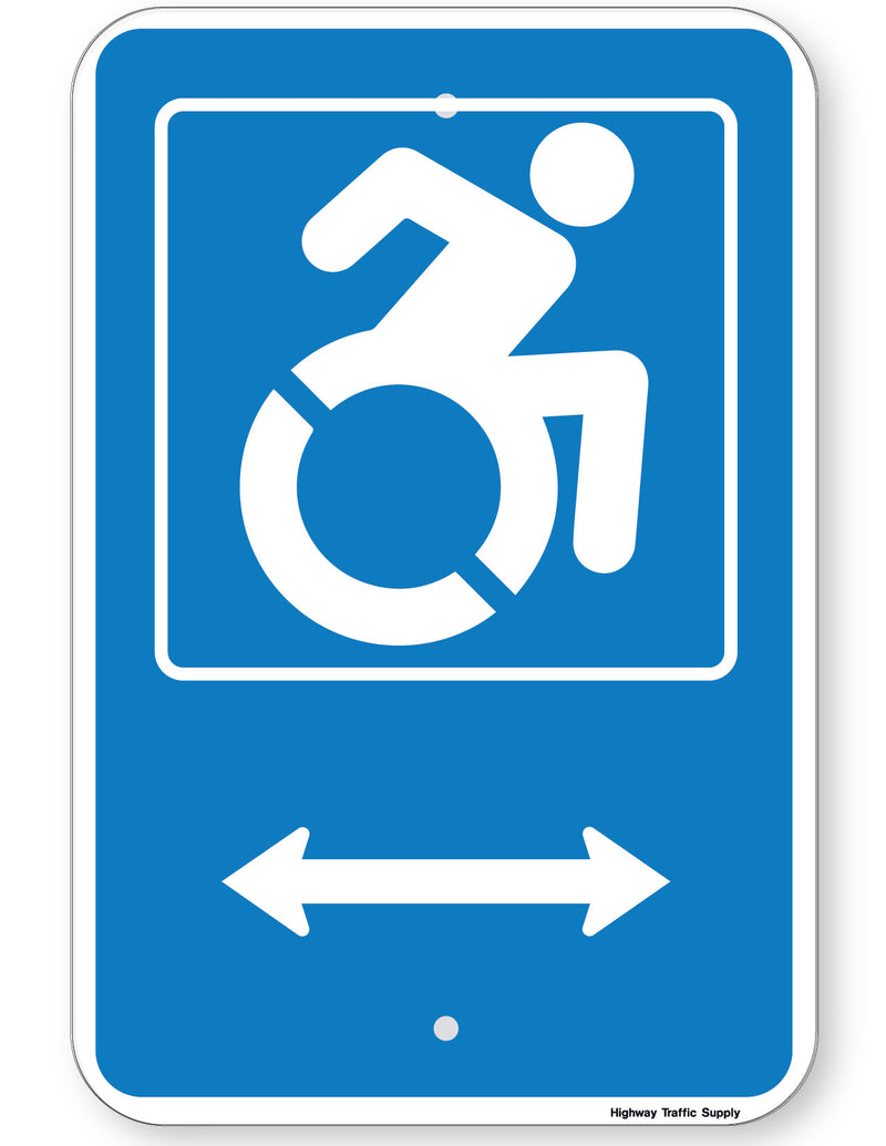 Handicapped Symbol Sign (with double arrow) (New York State Accessible Icon)