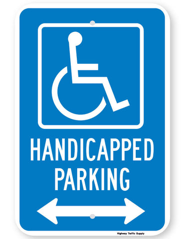 Handicapped Parking Sign (with double arrow)
