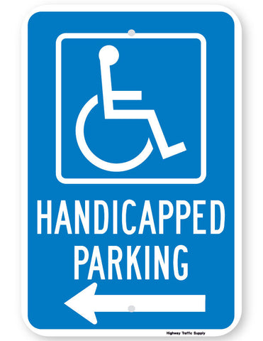 Handicapped Parking Sign (with left arrow)