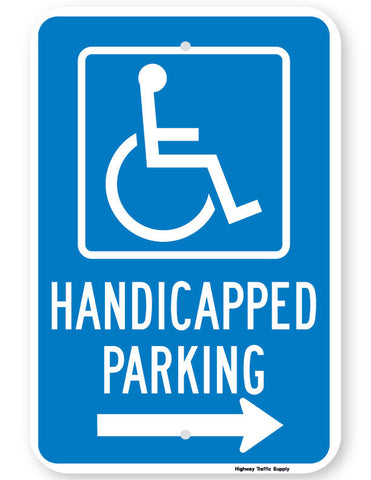 Handicapped Parking Sign (with right arrow)