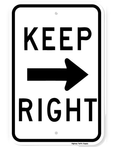 Keep Right (with arrow) Sign