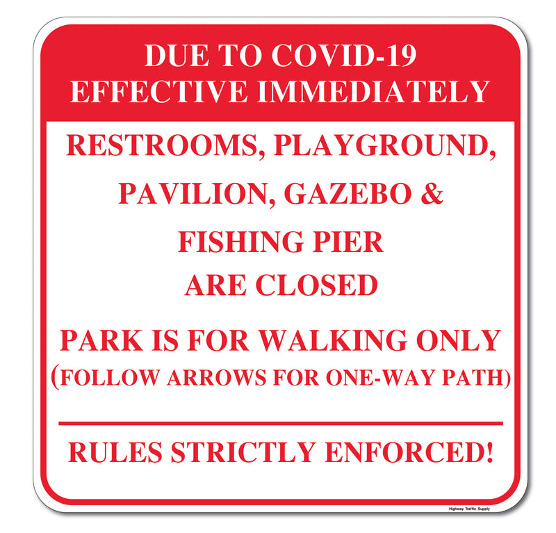Due To Covid-19... Rules Sign