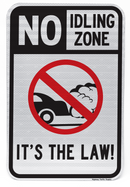 No Idling Zone It's The Law Sign