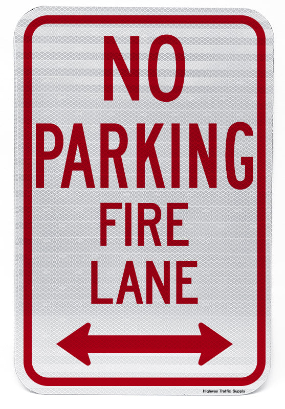 No Parking Fire Lane (with Double Arrow) Sign