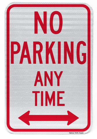 No Parking Any Time (with Double Arrow) Sign