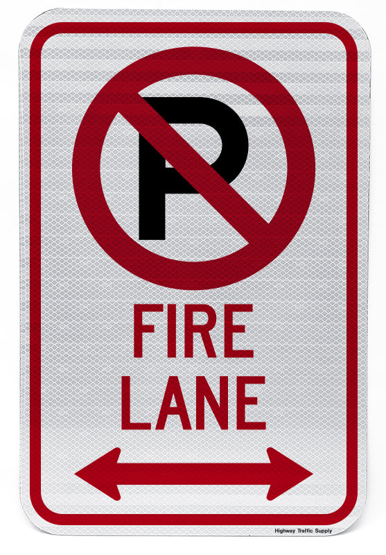No Parking Symbol Fire Lane (with Double Arrow) Sign