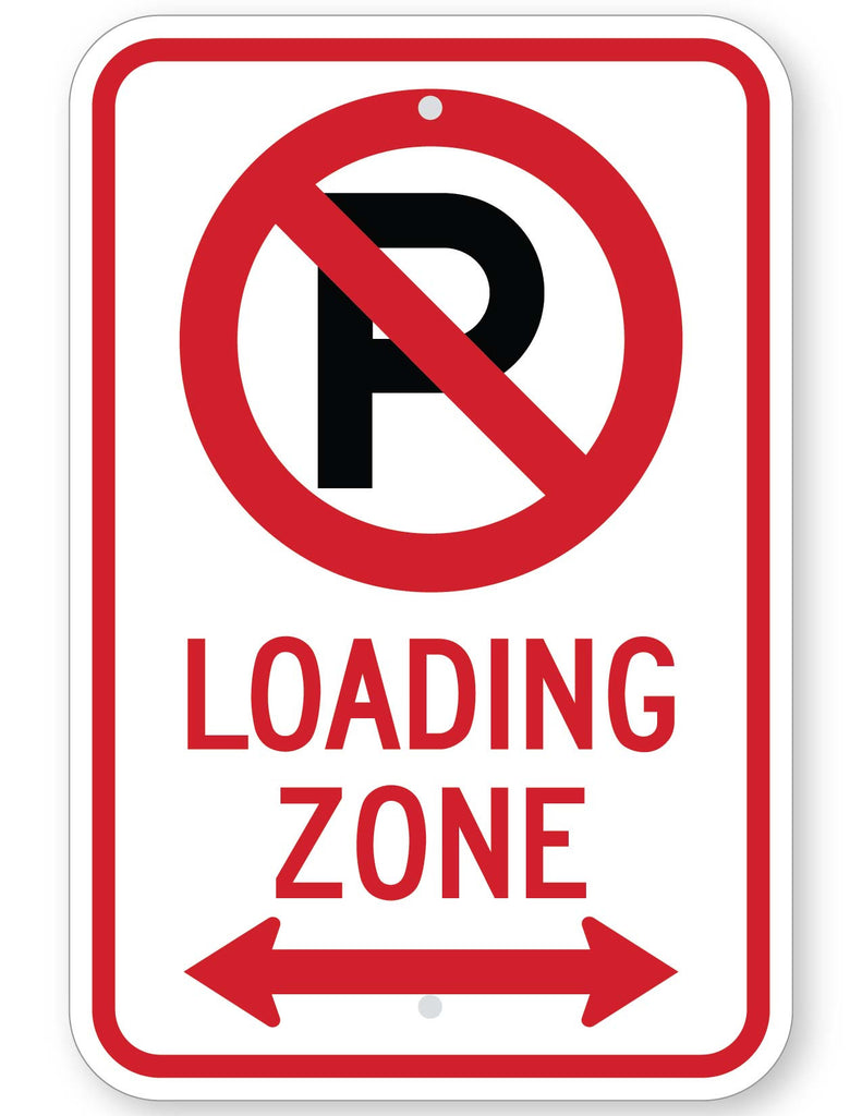 No Parking Symbol Loading Zone With Double Arrow Sign Highway