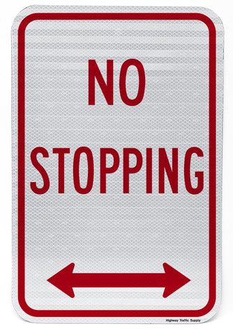 No Stopping (with Double Arrow) Sign