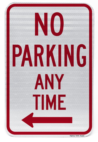 No Parking Any Time (with Left Arrow) Sign