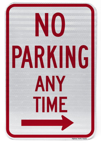 No Parking Any Time (with Right Arrow) Sign