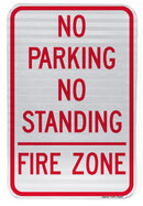 No Parking No Standing Fire Zone Sign