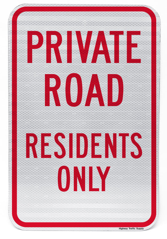 Private Road Residents Only Sign (Red on White)