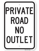 Private Road No Outlet Sign