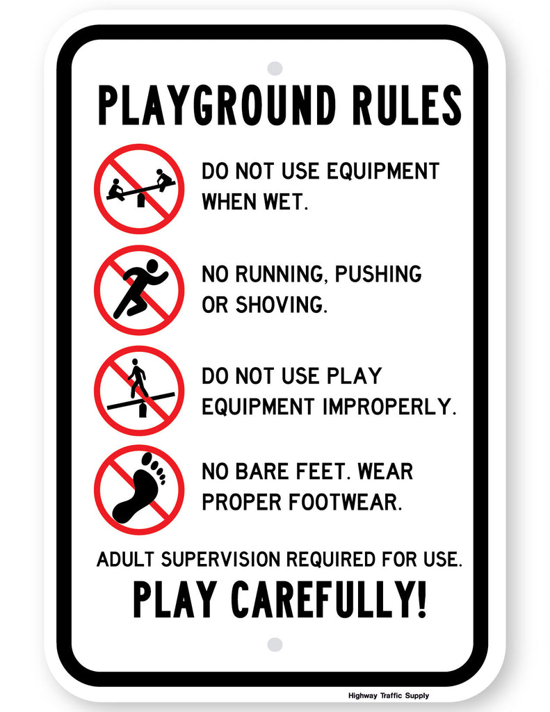 playground rules sign highway traffic supply
