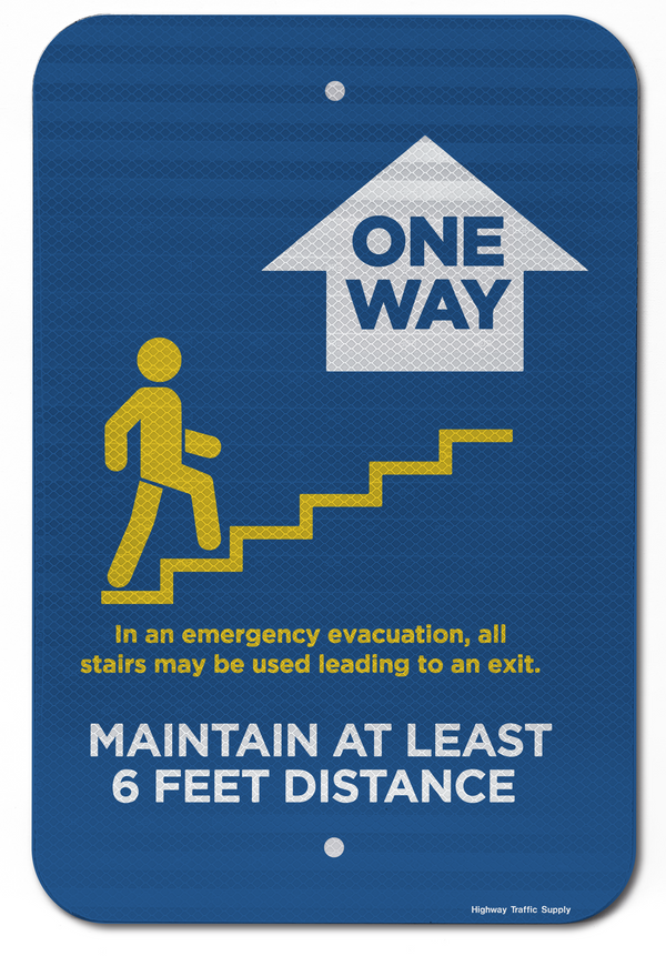 One Way Stairs (Up) Sign