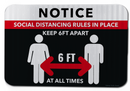 Notice Social Distancing Rules In Place Keep 6ft Apart Sign