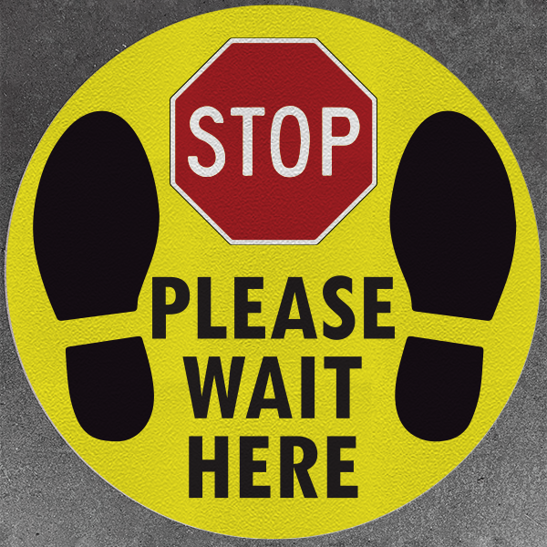 Stop Please Wait Here Decals (Pack of 5)