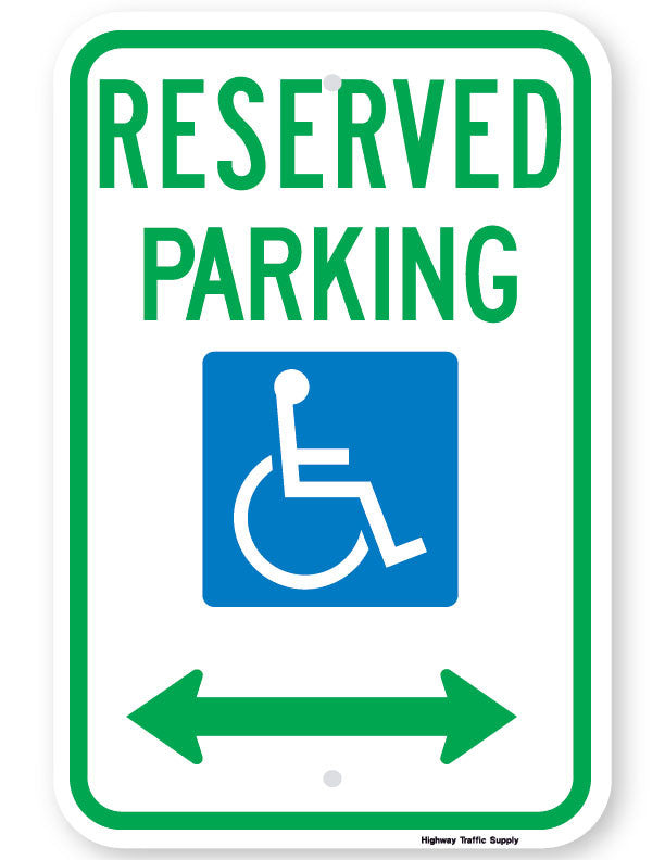 Reserved Parking Handicap Symbol Sign (with double arrow)
