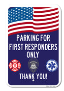 Parking for First Responders Only Sign (Blue)