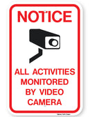 Notice All Activites Monitored By Video Camera Sign