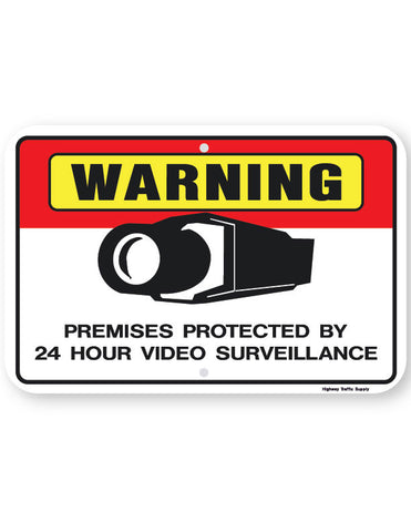 Warning Premises Protected By 24 Hour Video Surveillance Sign (horizontal)