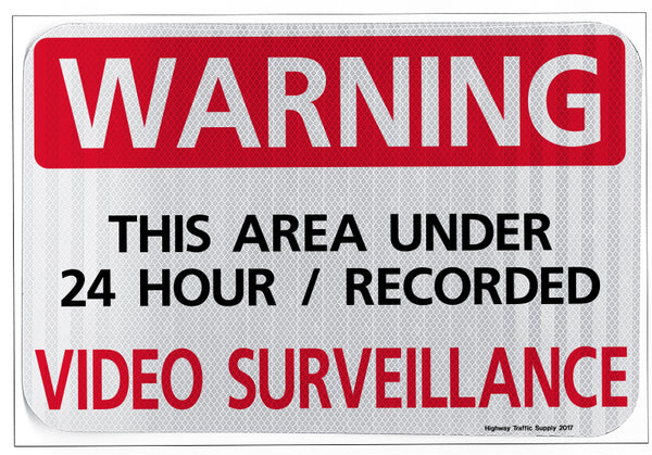 Warning This Are Under 24 Hour Recorded Video Surveillance Sign